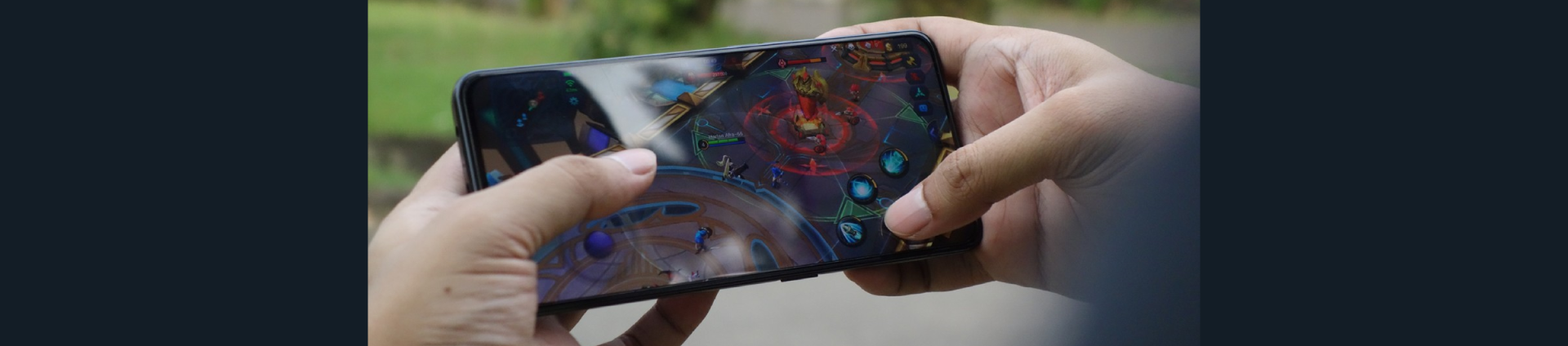 A person playing a mobile game